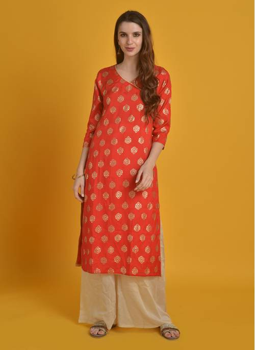 Golden Glimpse - Fiery Red Festive Kurta With Gold Print