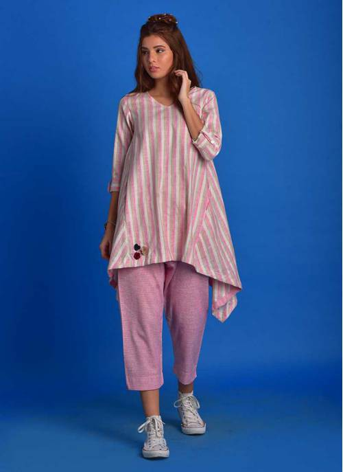 Tia- Pastel Pink Assymetrical Tunic With Slim Pants