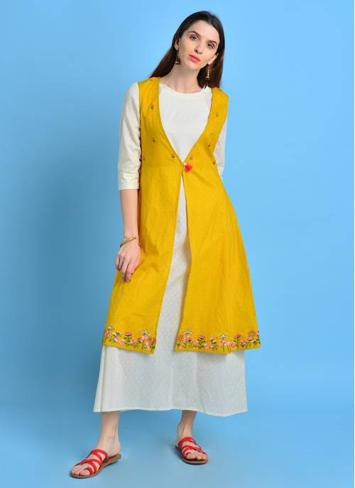 Vintage Bloom - Plain Off White Kurta With Floral Embroidered Yellow Jacket