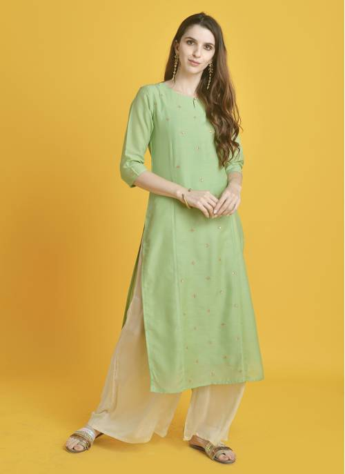 Saanwari-  Poised Pista Green Ornamental Kurta With Elbow Sleeves