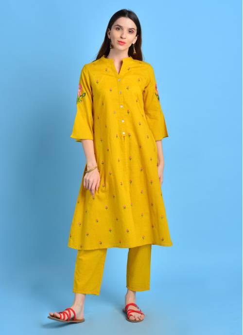 Vintage Bloom - Sunlit Yellow Emrboidered Kurta With Bell Sleeves
