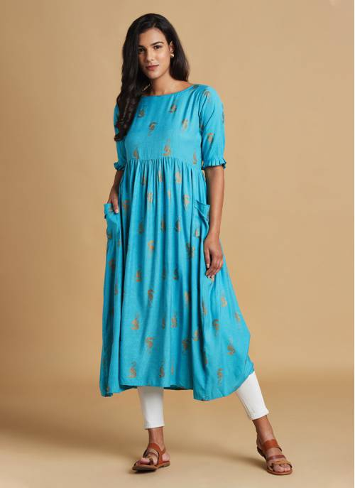 Nature Trails - Turquoise Gold Printed Festive Kurta With Gathers And Flared Sleeves