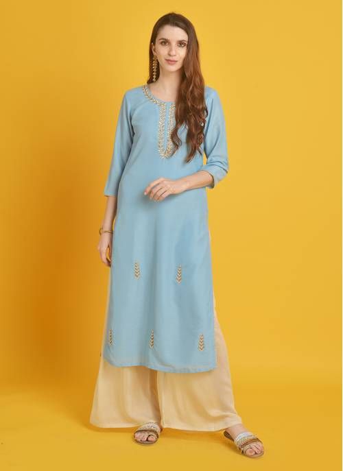 Mehak-  Beaming Blue Kurti With Pearl Hand Work