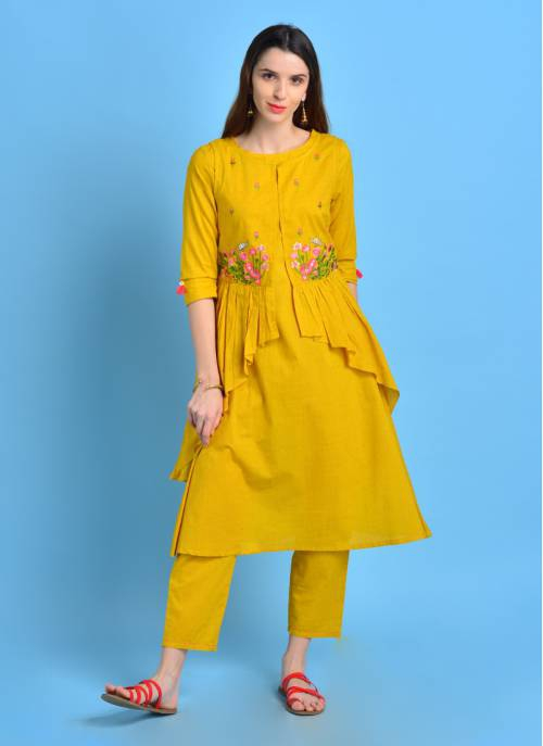 Vintage Bloom - Sunny Yellow Embroidered Double Layered Kurta With Frills