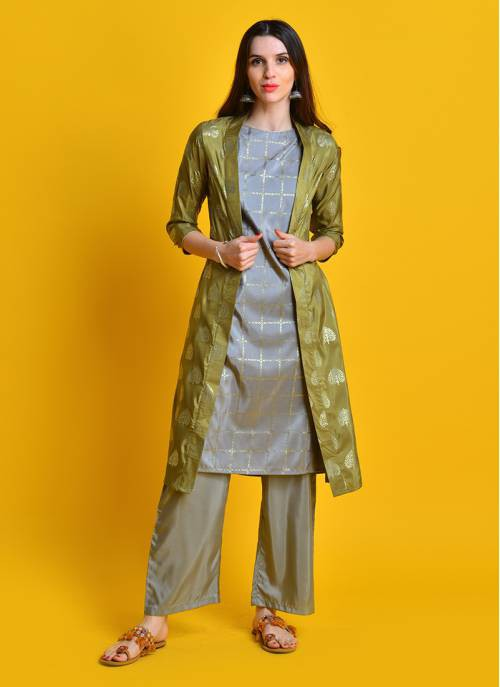 Gold Souk - Lush Green Foil Printed Jacket With Grey Kurta And Palazzo
