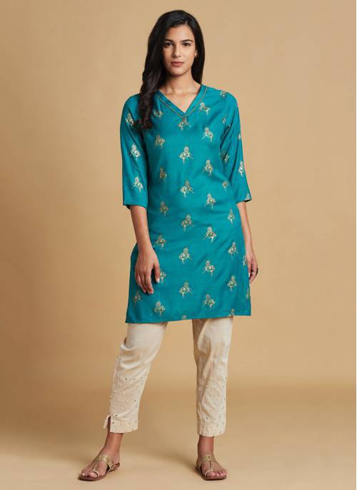Nature Trails -  Rama Green Festive Kurta With Gold Print