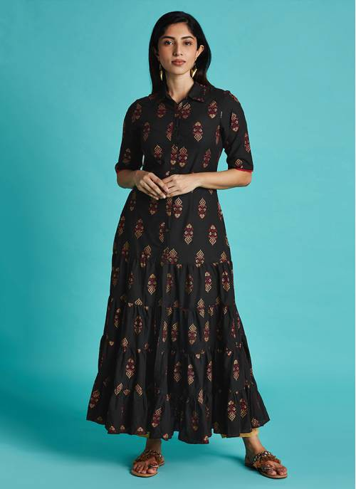 Pixel Art - Black Tiered Anarkali With Shirt Collar