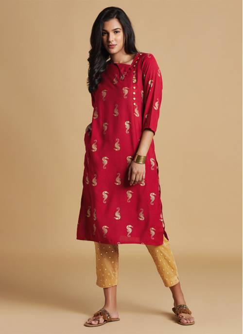 Nature Trials - Ruby Red Festive Kurta With Gold Print