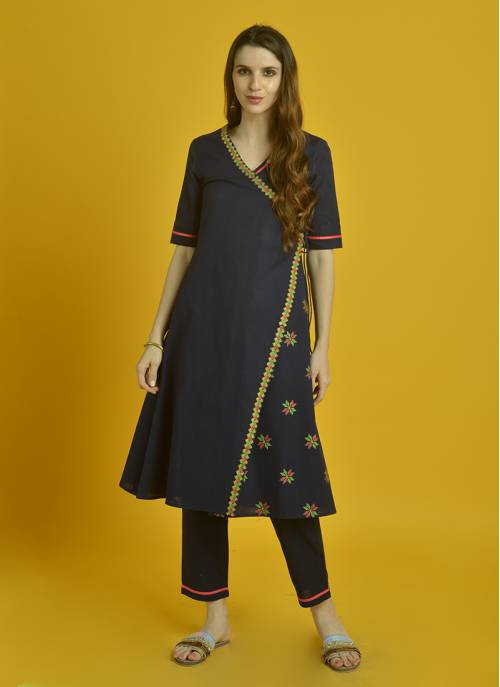 Sui Dhaga - Navy Angrakha With Cross Stitch Embroidery