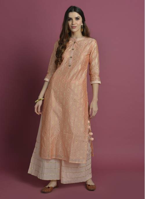 Peche-  Candy Peach Straight Kurta With Gota Palazzo