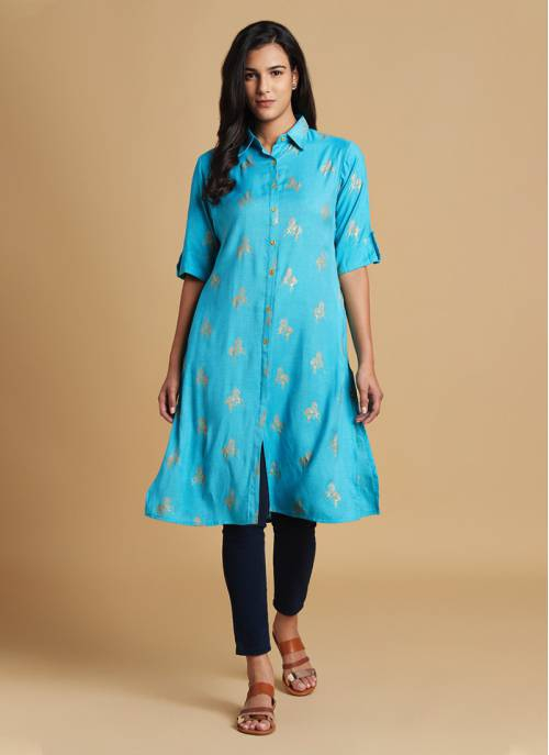 Nature Trails - Turquoise Gold Printed Button Down Festive Kurta
