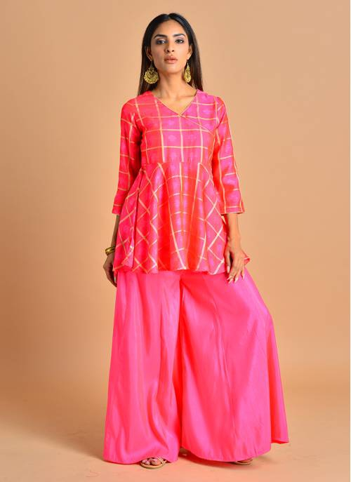 Kusum - Blush Pink Jacquard Anarkali Top Paired With Flared Palazzo