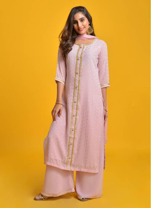 Maahi- Lovely Lilac Foil Printed Straight Kurta With Flared Palazzo And Chiffon Dupatta