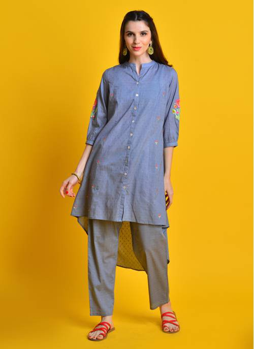 Vintage Bloom - Gleaming Grey High Low Cotton Kurta With Floral Embroidery