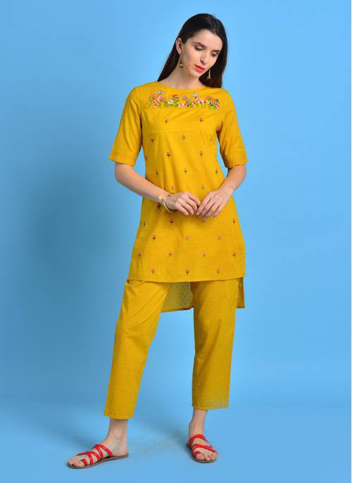 Vintage Bloom - Sunshine Yellow Asymmetrical Cotton Kurta With All Over Floral Embroidery