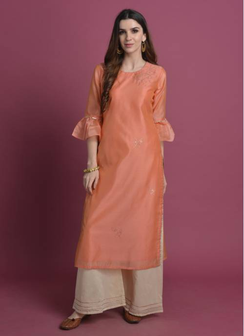 Asth-  Lively Coral Casual Kurta With Badla Work