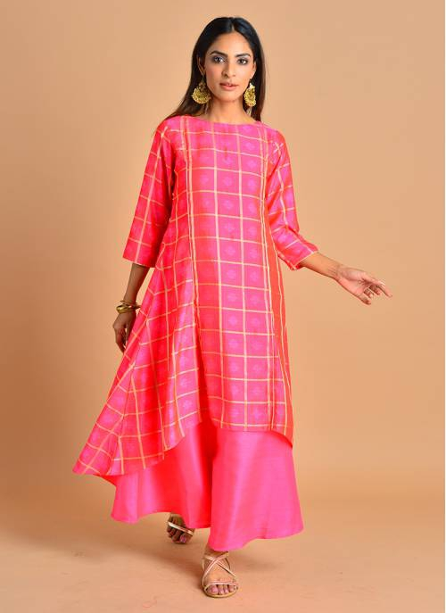 Surkhi - Blush Pink Jacquard Asymmetrical Double Layered Kurta Dress