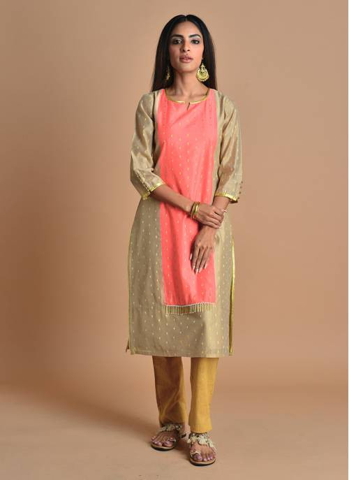 Saumya- Salmon Pink And Beige Chanderi  Kurti
