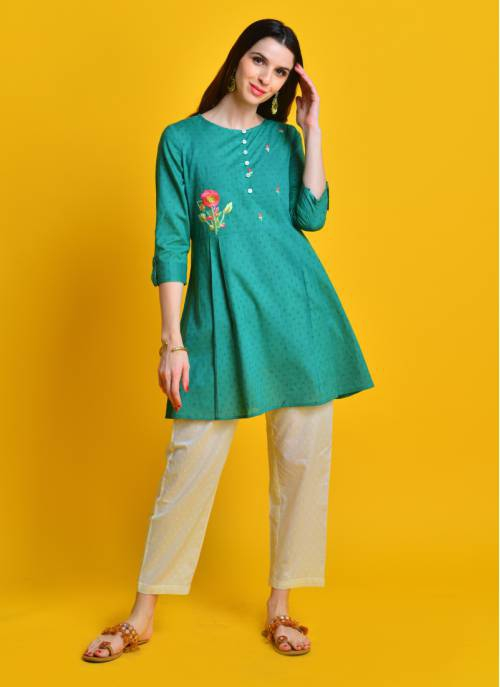Vintage Bloom - Gorgeous Green Pleated Cotton Kurta With Floral Embroidery