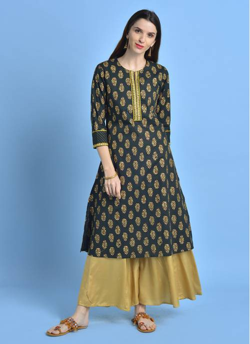 Golden Glimpse - Emrald Green Festive  Kurta With All Over Gold Print
