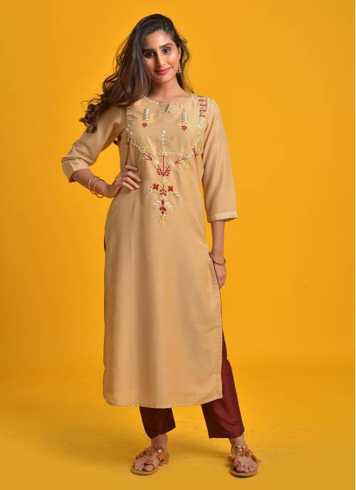Aabha- Beige Straight Fit Kurta With Embroidered Yoke And Slim Pant