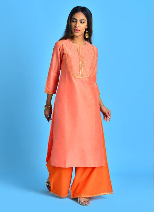 Kohin - Placid Peach Solid Kurta With Gold Pita Embroidery