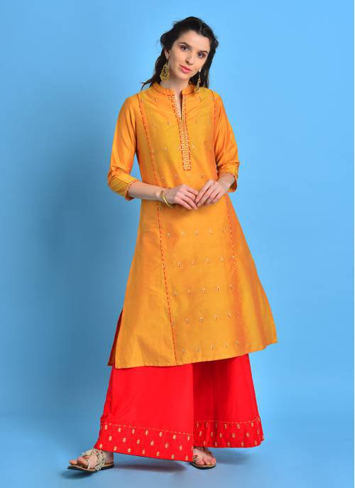 Ravisht - Mellow Mustard Mandarin Collar Kurta With Gold Pita Embroidery
