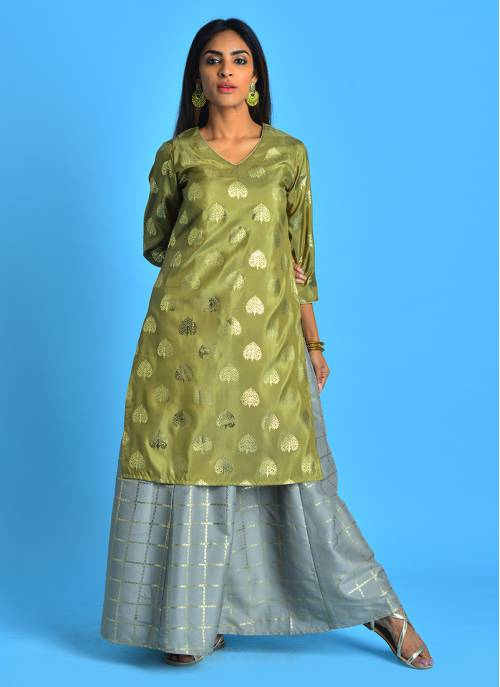 Gold Souk - Classic Green And Grey Foil Print Layered Dress