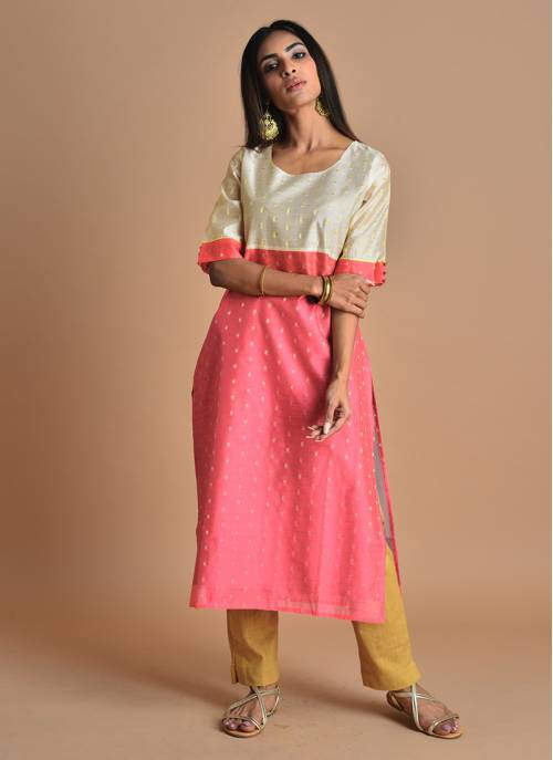 Dharti- Pretty Pink And Beige Chanderi Kurti