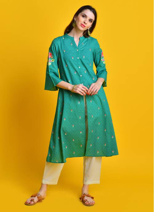 Vintage Bloom - Gorgeous Green Cotton Kurta With All Over Floral Embroidery