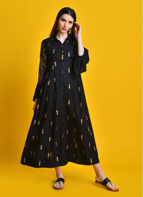 Swarn Rooh - Beautufil Black Gold Printed Dress With Flared Sleeves