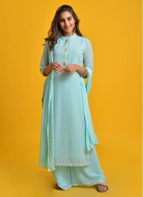 Tamanna- Sky Blue Foil Printed Straight  Kurta With Flared Palazzo And Chiffon Dupatta