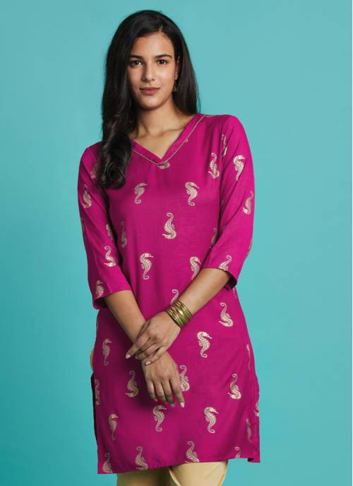 Nature Trails - Poised Pink Festive Kurta With Gold Print