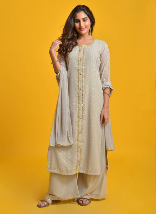 Eesha- Gorgeous Grey Foil Printed Straight Kurta With Flared Palazzo And Chiffon Dupatta