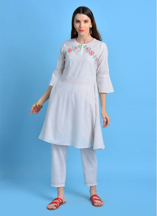 Sui Dhaga - Wishful White Color Flared Kurta With Cross Stitch Embroidery