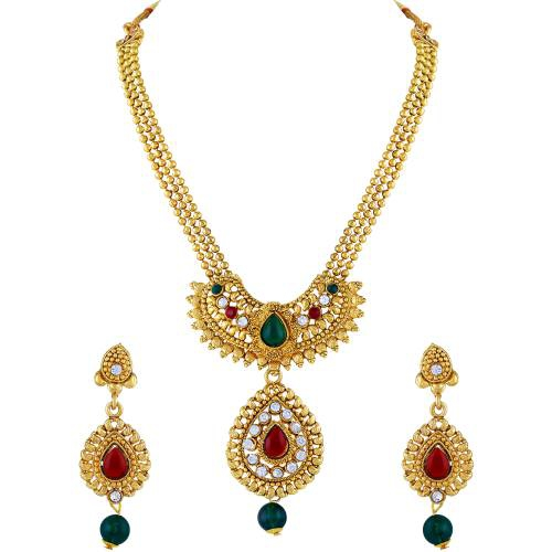Gold Plated Zinc Traditional Kundan Necklace Set