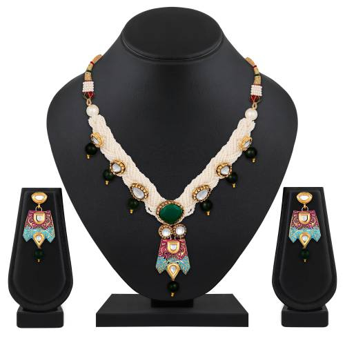 Gold Plated Brass Traditional Necklace Set