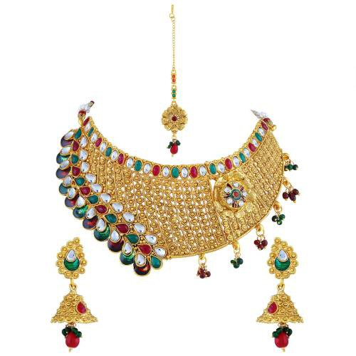 Gold Plated Copper Classic Kundan Necklace Set