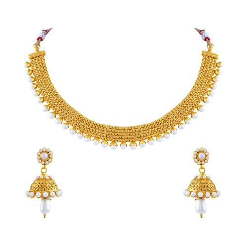 Gold Plated Copper Antique Kundan Necklace Set