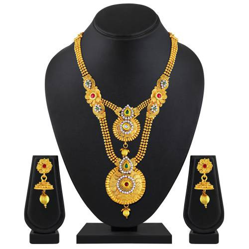 Gold Plated Zinc Finish Ethnic Necklace Set