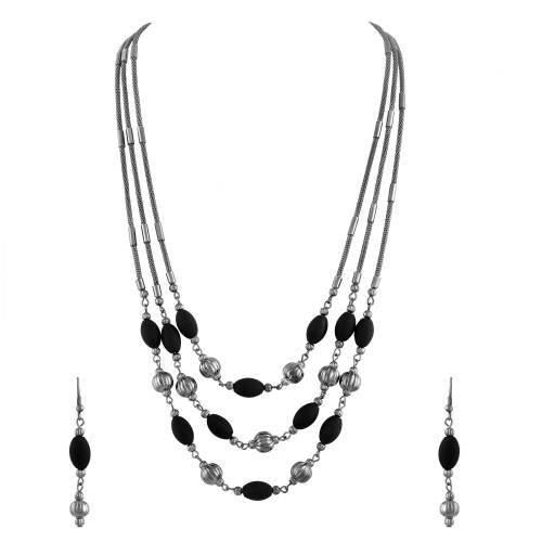 Silver Plated Alloy Metal Oxidised Jewellery Necklace Set