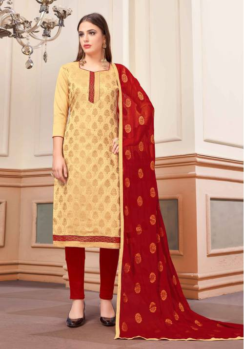 Craftsvilla Beige Banarasi Silk Blend Embellished Unstitched Straight Suit