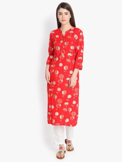 Red Viscose Embellished Calf Length Straight Kurti