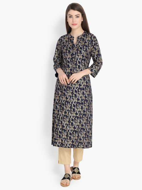 Blue Viscose Embellished Calf Length Straight Kurti