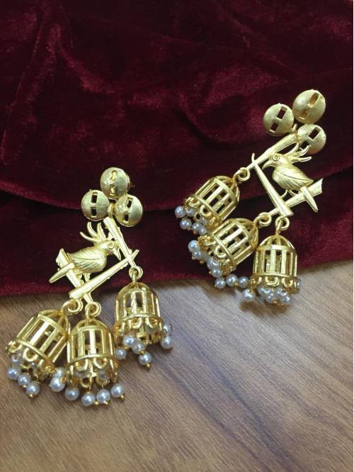 Gold Plated Brass Traditional Hand Crafted Earrings