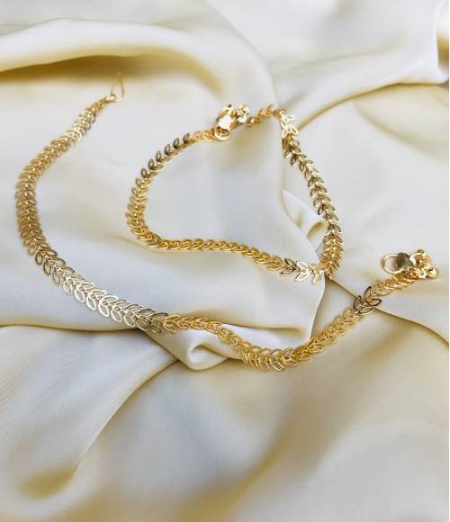 Gold Plated Brass Designer Hand Crafted Anklets