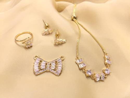 Gold Plated Brass Designer Crystal Embellished Necklace Set