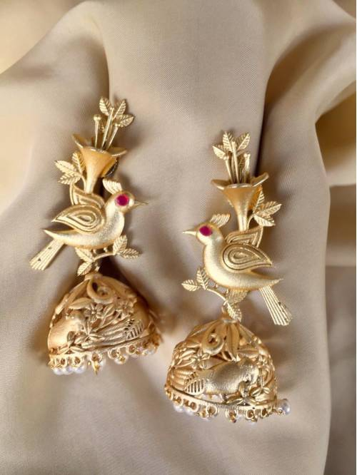 Craftsvilla Gold Plated Brass Hand Crafted Traditional Jhumka Earrings
