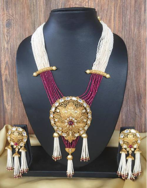 Gold Plated Brass Traditional Kundan Necklace Set