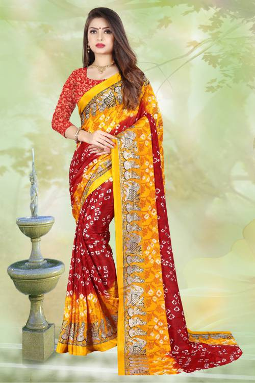 Red Silk Blend Printed Bandhani Saree With Unstitched Blouse Piece